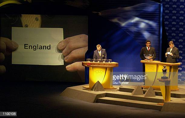 England come out of the draw for group during the draw for Euro 2004 Football Championships Qualification at the Congress Center EuroPark Porto...
