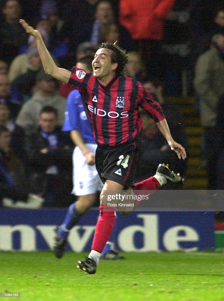Eyal Berkovic of Man. City celebrates after scoring the first goal during the match between Ipswich Town and Manchester City in the AXA FA Cup Fourth Round Portman Road, Ipswich. DIGITAL IMAGE. Mandatory Credit: Ross Kinnaird/Getty Images