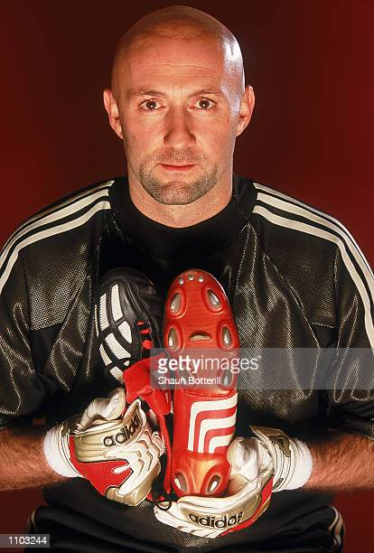 Fabien Barthez of Manchester United and France with the new Adidas Predator Mania football boots during a photoshoot in Oxford England Mandatory...