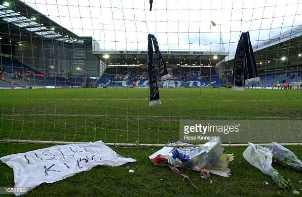 Flowers for Jeff Astle behind the goal after the match between West Bromwich Albion and Walsall in the Nationwide Division One at Hawthorns...