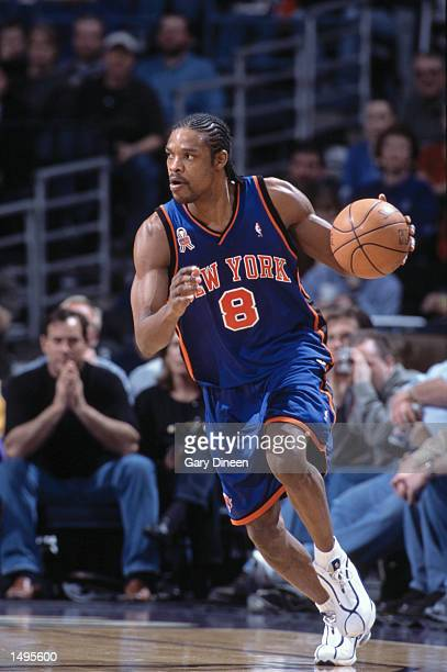 Forward Latrell Sprewell of the New York Knicks dribbles the ball during the NBA game against the Milwaukee Bucks at the Bradley Center in Milwaukee...