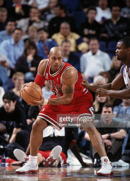 Forward Marcus Fizer of the Chicago Bulls posts up forward Alton Ford of the Phoenix Suns during the NBA game at the United Center in Chicago...