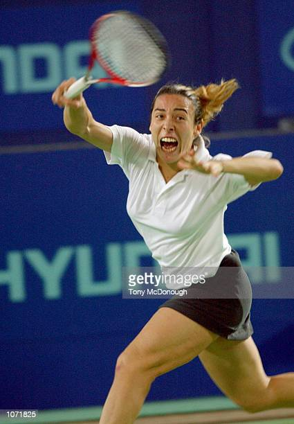 Francesca Schiavone for Italy returns a ball during her match of the Hyundai Hopman Cup against Monica Seles for the United States of America at the...