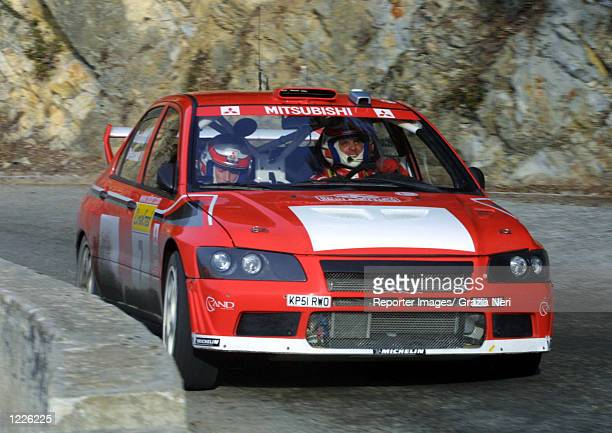 Francois Delecour driving a Mitsubishi Lancer in action during the second stage of the Monte Carlo Rally the first stage of the 2002 World Rally...