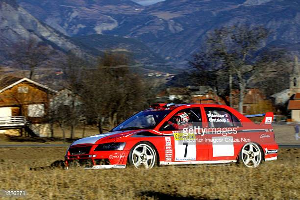 Francois Delecour of France driving a Mitsubishi Lancer during the Monte Carlo Rally the first stage of the World Rally Championship DIGITAL IMAGE...
