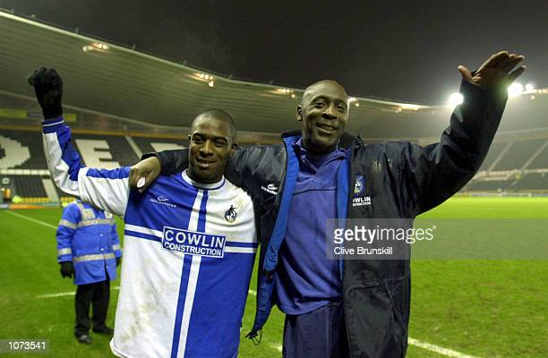 Garry Thompson Bristol Manager celebrates with goal scorer Nathan Ellington after the match between Derby County and Bristol Rovers in the AXA FA Cup...