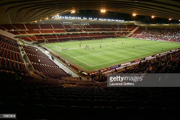 General view of the Riverside Stadium as a small crowd watches the AXA sponsored FA Cup third round replay match between Middlesbrough and Wimbledon...
