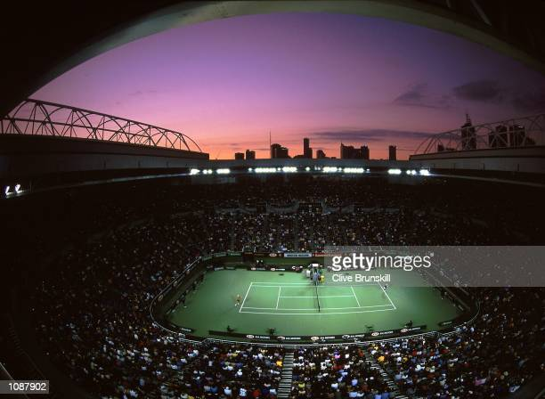 General view of the Rod Laver Arena during the Australian Open first round held in Melbourne Park in Melbourne Australia Mandatory Credit Clive...
