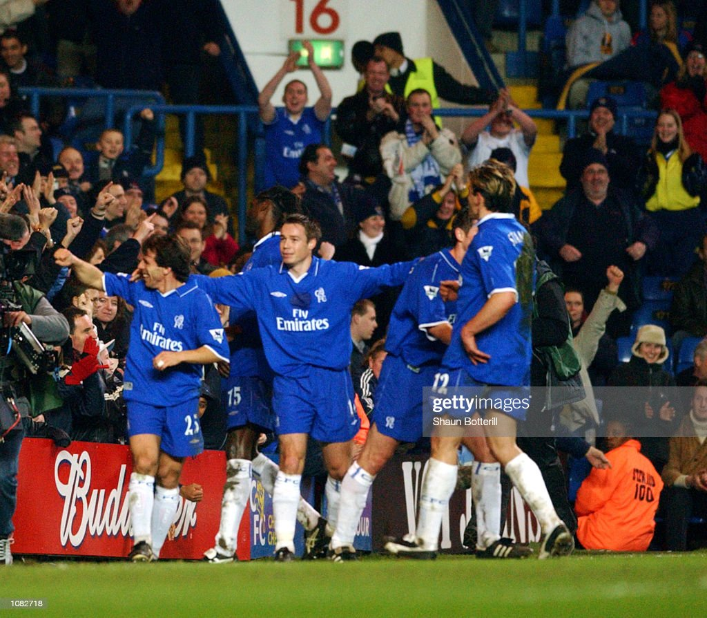 Gianfranco Zola (far left) of Chelsea celebrates scoring one of the best goals ever seen in football with team-mates during the AXA sponsored FA Cup third round replay match against Norwich City played at Stamford Bridge, in London. Chelseawon the match 4-0. DIGITAL IMAGE. Mandatory Credit: Shaun Botterill/Getty Images