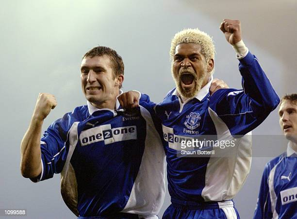 Goalscorer Alan Stubbs of Everton celebrates scoring the winning goal with teammate Abel Xavier during the AXA sponsored FA Cup third round match...
