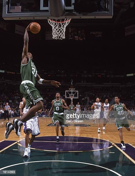 Guard Joe Johnson of the Boston Celtics dunks the ball during the NBA game against the Milwaukee Bucks at the Bradley Center in Milwaukee Wisconsin...