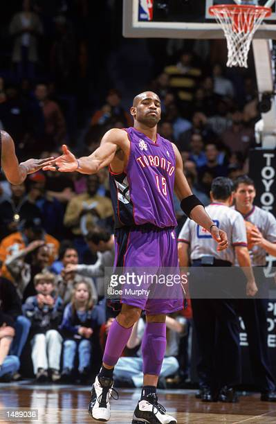 Guard Vince Carter of the Toronto Raptors celebrates during the NBA game against the Memphis Grizzlies at the Pyramid Arena in Memphis, Tennessee....