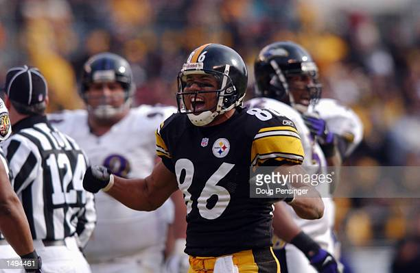Hines Ward of the Pittsburgh Steelers celebrates scoring against the Baltimore Ravens during the AFC divisional playoff game at Heinz Field in...
