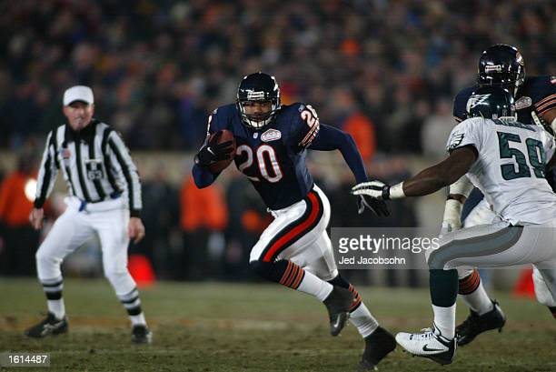James Allen of the Chicago Bears runs against the defense of the the Philadelphia Eagles during the NFC Divisional Playoff at Soldier Field in...