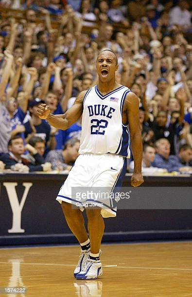 Jason Williams of Duke celebrates a threepointer during the second half of the Wake Forest Demon Deacons versus Duke Blue Devils game at Cameron...