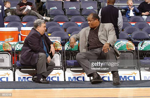 Jerry Krause General Manager of the Chicago Bulls and Wes Unseld General Manager of the Washington Wizards talk before their game at MCI Center in...
