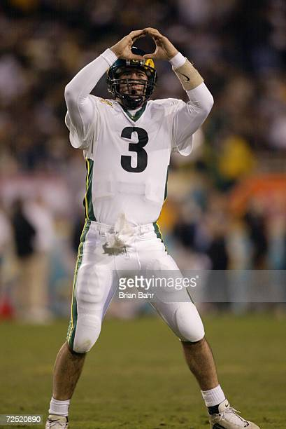 Joey Harrington of Oregon celebrates his third quarter touchdown against Colorado during the game at the Fiesta Bowl at Sun Devil Stadium in Tempe...