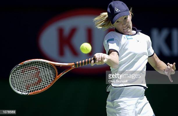 Justine Henin of Belgium in action against Marta Marrero of Spain during the Australian Open 2002 Tennis Championships at Melbourne Park Melbourne...
