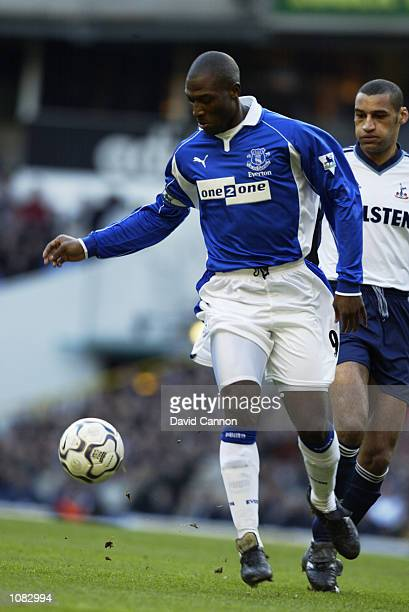Kevin Campbell of Everton controls the ball during the FA Barclaycard Premiership match against Tottenham Hotspur played at White Hart Lane in London...