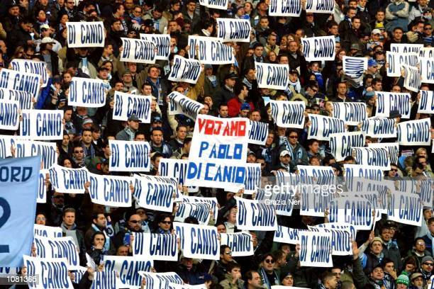 Lazio fans encourage the club to sign former star Paolo Di Canio during the Serie A match between Lazio and Perugia played at the Olympic Stadium...