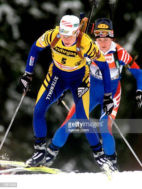 Magdalena Forsberg of Sweden in action during the women's biathlon event held in Ruhpoding Germany DIGITAL IMAGE Mandatory Credit Zoom Sports/ALLSPORT