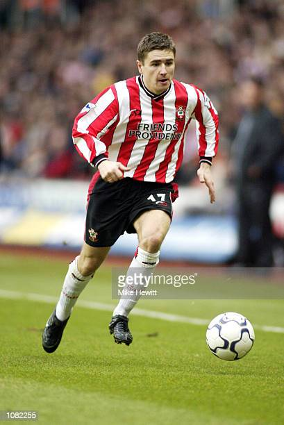 Marian Pahars of Southampton runs with the ball during the FA Barclaycard Premiership match against Manchester United played at the St Mary's Stadium...
