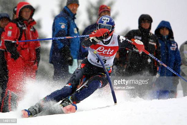 Marlies Oester of Switzerland skis to a first place during the women's slalom event at the FIS Ski World Cup in Berchtesgaden Germany Mandatory...