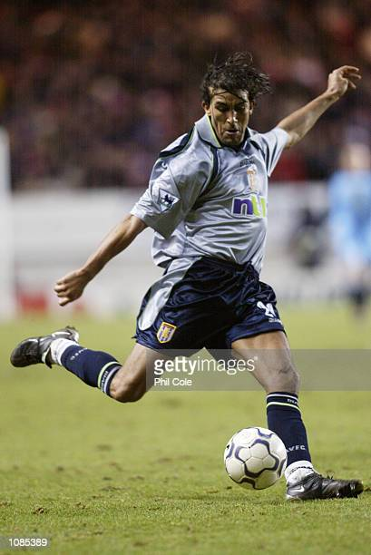 Mustapha Hadji of Aston Villa looks to pass the ball during the FA Barclaycard Premiership match against Charlton Athletic played at The Valley in...