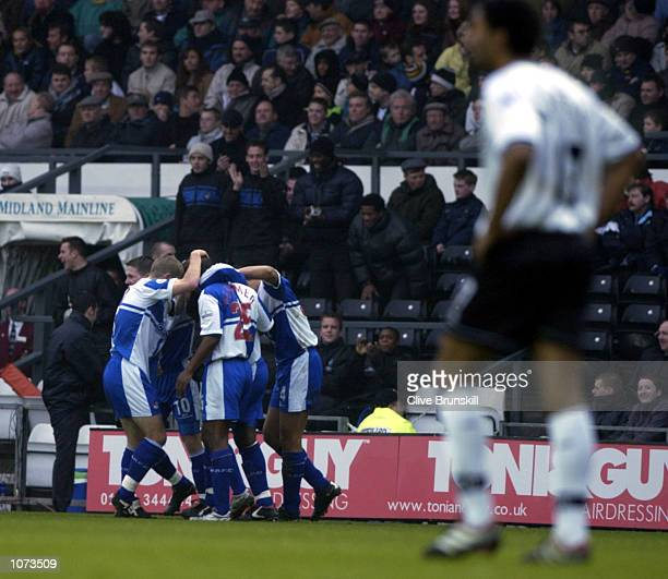 Nathan Ellington of Bristol celebrates scoring withn his team mates during the match between Derby County and Bristol Rovers in the AXA FA Cup third...
