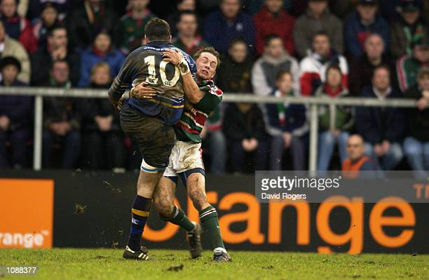 Nathan Spooner of Leinster charges forward during the Heineken Cup quarterfinal match against Leicester Tigers played at Welford Road in Leicester...
