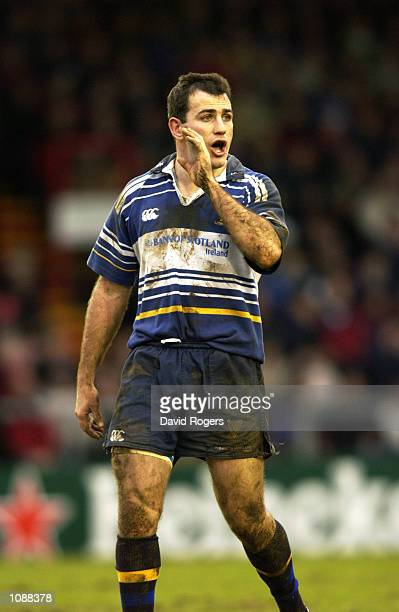 Nathan Spooner of Leinster in action during the Heineken Cup quarterfinal match against Leicester Tigers played at Welford Road in Leicester England...