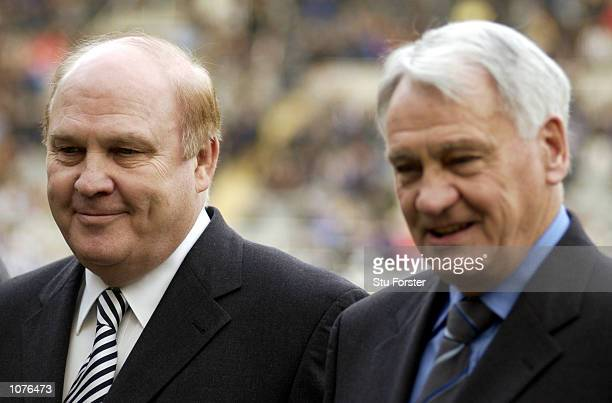 Newcastle United Chairman Freddie Shepherd with Manager Bobby Robson before the FA Barclaycard Premiership match between Newcastle United and Leeds...