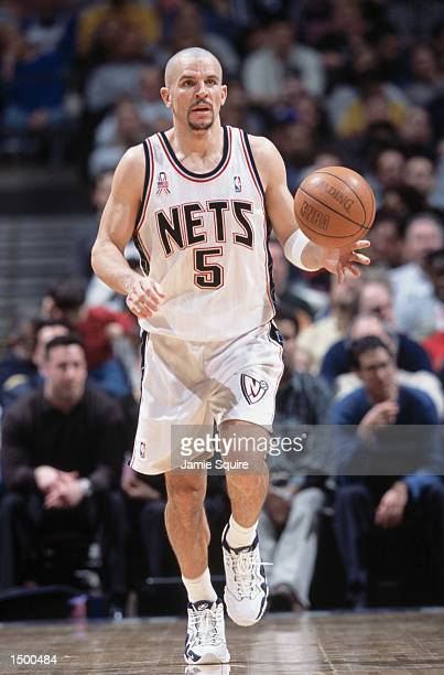 Point guard Jason Kidd of the New Jersey Nets dribbles the ball during the NBA game against the San Antonio Spurs at the Continental Airlines Arena...