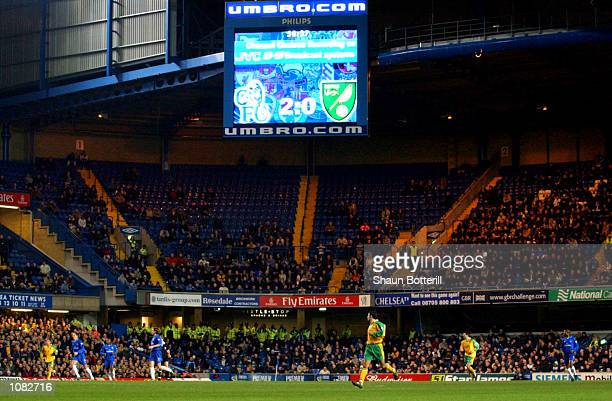 Poor attendance at Stamford Bridge during the AXA sponsored FA Cup third round replay match between Chelsea and Norwich City played at Stamford...