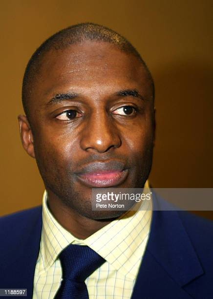 Portrait of John Fashanu during a press conference to announce his company Winners World Wide were close to taking control of Northampton Town...