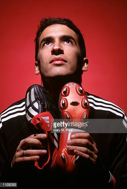 Raul of Real Madrid and Spain with the new Adidas Predator Mania football boots during a photoshoot in Oxford England Mandatory Credit Gary M...