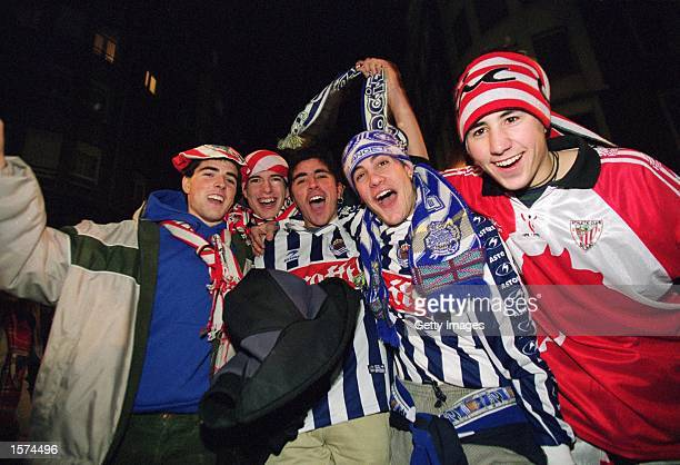 Real Sociedad and Athletic Bilbao fans during the Spanish Primera Liga match played at the San Mames Stadium, in Bilbao, Spain. Athletic Bilbao won...