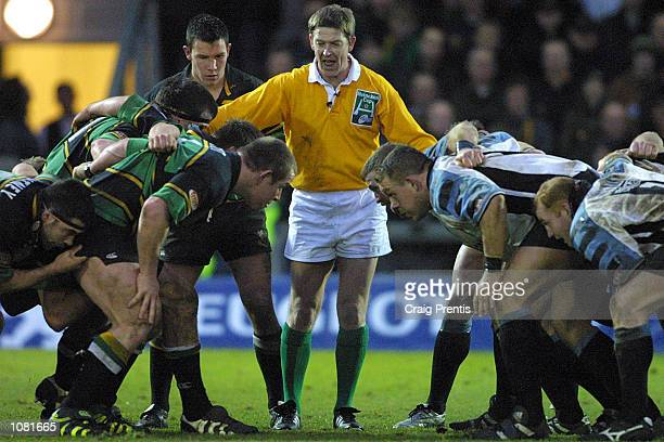 Referee Iain Ramage sets the scrummage during the Heineken Cup Pool 5 match between Northampton Saints and Cardiff at Franklin's Gardens Northampton...