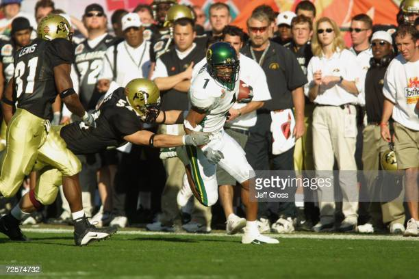 Samie Parker of Oregon is chased by Sean Tufts of Colorado during the game at the Fiesta Bowl at Sun Devil Stadium in Tempe Arizona The Oregon Ducks...