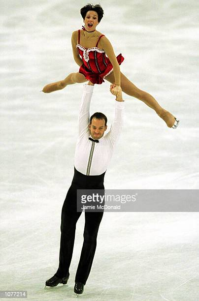 Sarah Abitbol and Stephane Bernadis of France during the Pairs short programme during the European Figure Skating Championships at the Centre de...