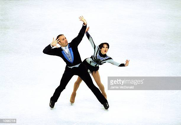 Sarah Abitbol and Stephane Bernadis of France on their way to Pairs Silver during the European Skating Championships at Lausanne Switzerland...
