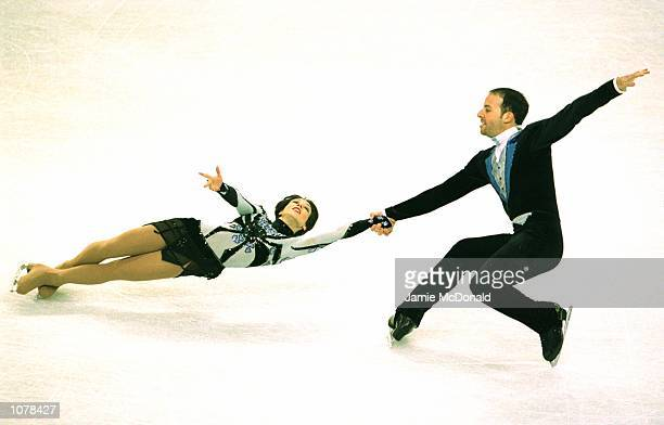 Sarah Abitbol and Stephane Bernadis of France win Silver in the Pairs during the European Figure Skating Championships at the Centre de Glace de...