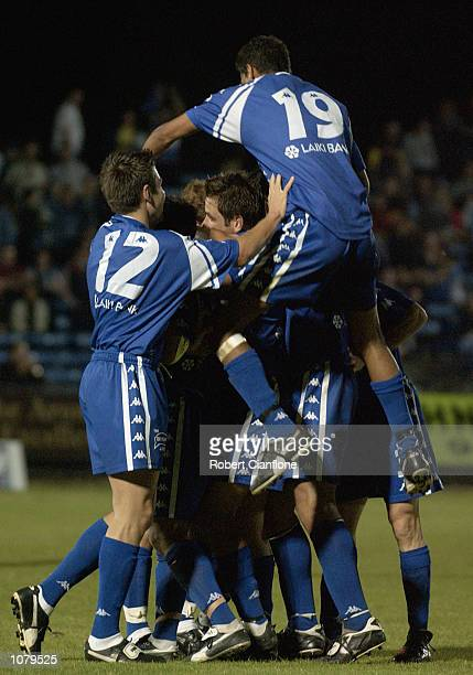 South Melbourne players celebrate their winning goal scored by Con Boutsianis during the Round 15 NSL match between South Melbourne and the Auckland...