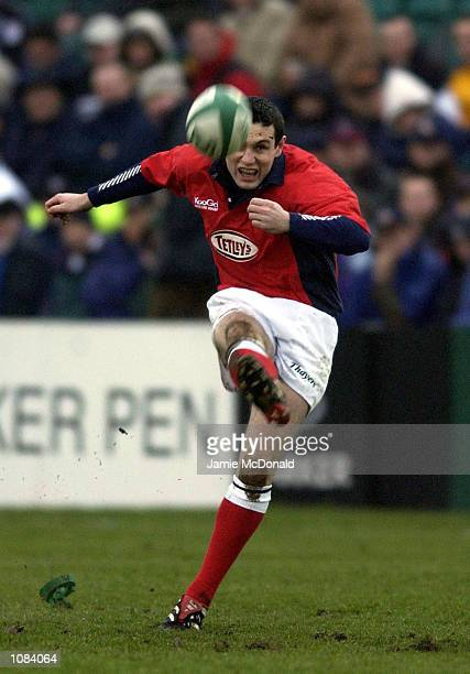 Stephen Jones of Llanelli scores another penalty during the Heineken Cup quarter final game between Bath v Llanelli at the Recreation ground Bath...