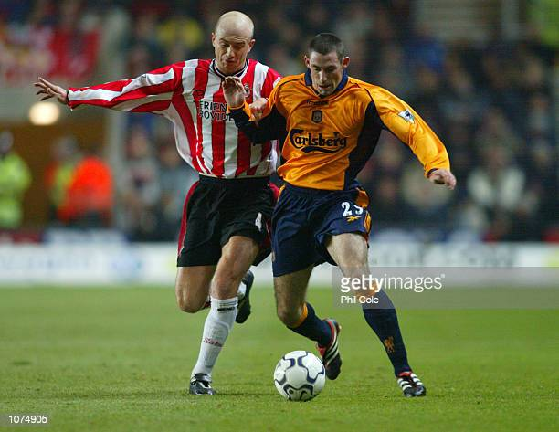 Stephen Wright of Liverpool takes the ball past Chris Marsden of Southampton during the FA Barclaycard Premiership match played at the St Mary's...