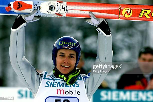Sven Hannawald of Germany celebrates winning the FIS Ski Jumping event Bischofshofen Austria DIGITAL IMAGE Mandatory Credit Allsport UK/Getty Images