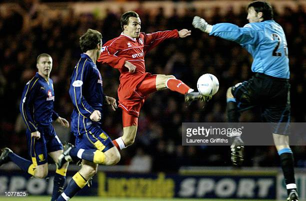 Szilard Nemeth of Middlesbrough has his shot saved by Ian Feuer of Wimbledon during the AXA FA Cup 3rd Round Replay between Middlesbrough and...