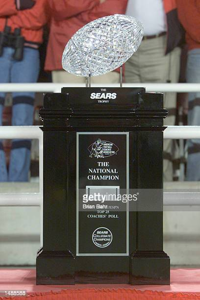 The Sears National Championship trophy sits on the sidelines before the start of the Rose Bowl National Championship game between Nebraska and Miami...