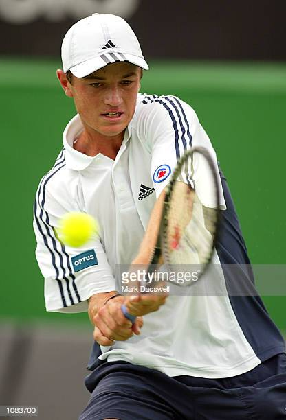 Todd Reid of Australia in action as he loses to Clement Morel of France in the Boys Singles Final during the Australian Open 2002 Tennis...