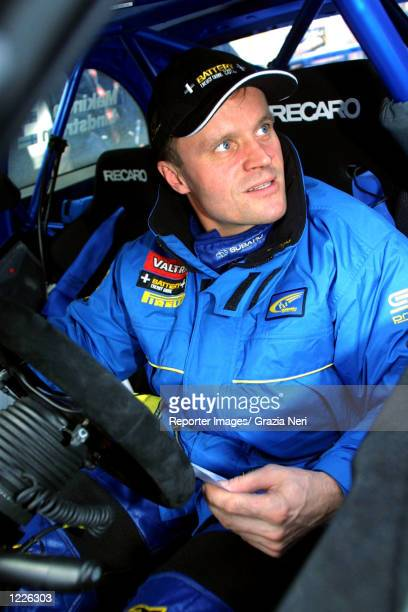 Tommi Makinen of Finland and Subaru Impreza in the service area at the Monte Carlo Rally the first stage of the World Rally Championship DIGITAL...